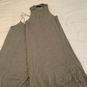 Helmut Lang Gray Sleeveless Sweater Dress Small